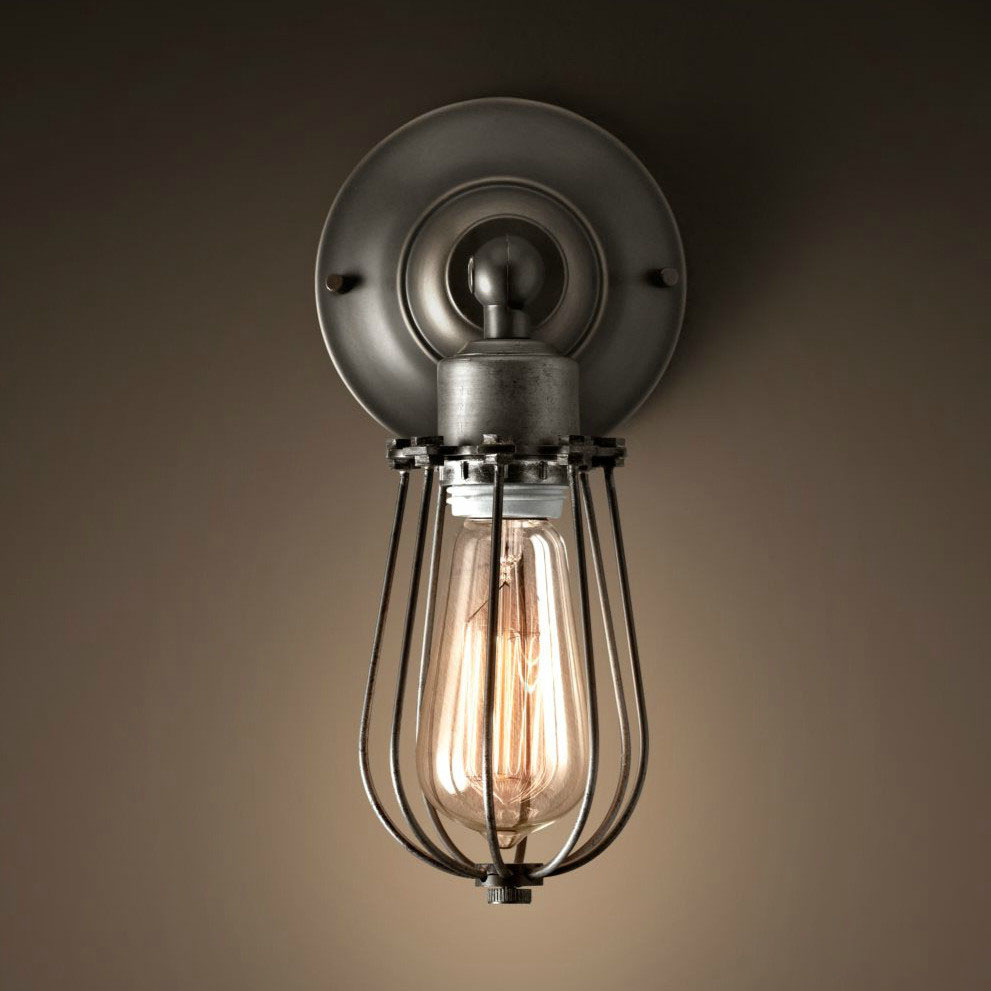 WeLikedThis UK Social Conveyers Of Good CAGE SCONCE ORLANDO VINTAGE INDUSTRIAL WIRE WALL LAMP