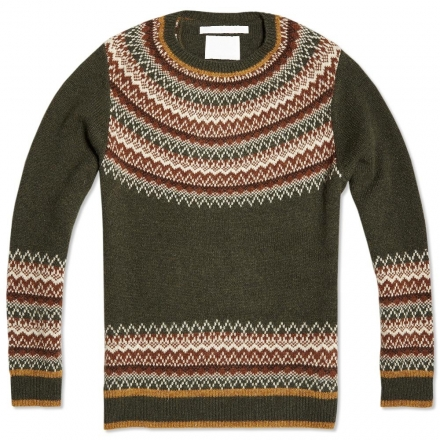White Mountaineering Nordic Pattern Round Neck Knit Sweater