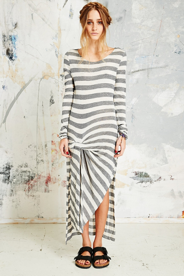 Free People Go Lightly Stripe Maxi Dress in White & Grey