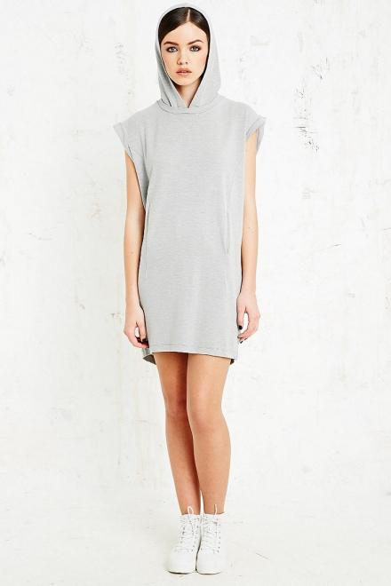 Hooded Dress in Grey