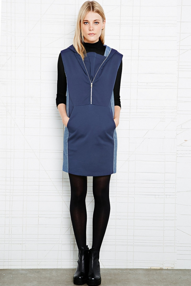 Hoodie Dress in Indigo