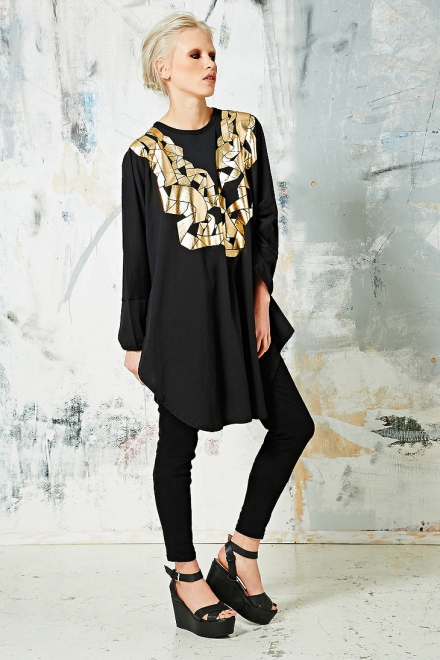 Anglomania Paper Chain Tunic Dress in Black