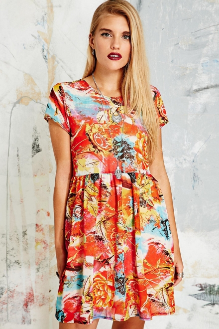 Vintage O&O Dress in Tropical Print