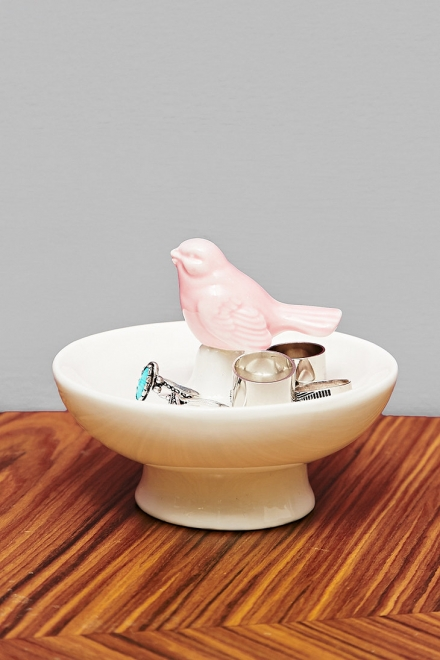 Bird Ring Dish in White