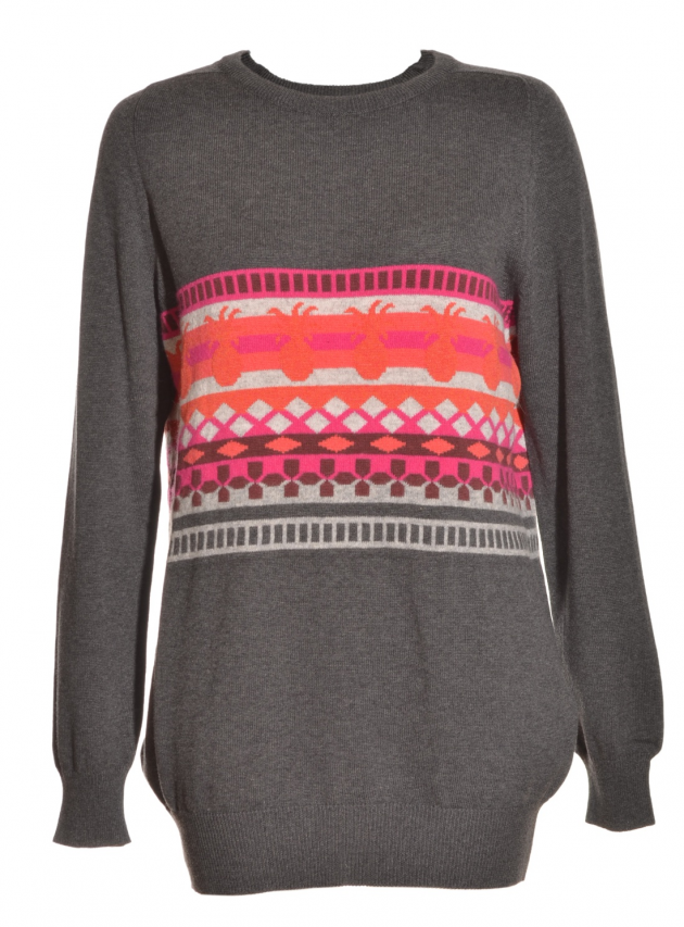 Grey/Pink Pineapple Pattern Jumper