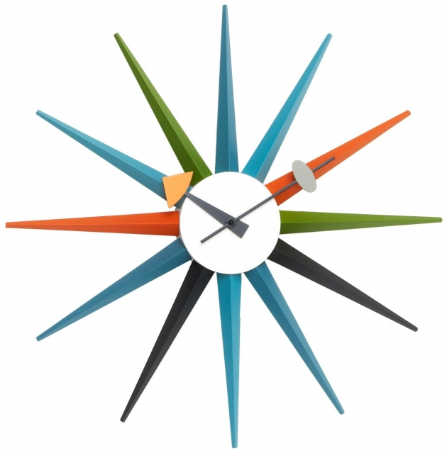 Multi Coloured Sunburst Clock