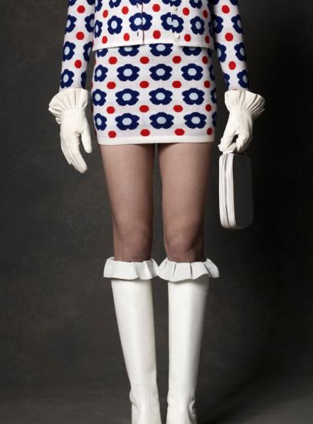 Blue Floral Cashmere & Wool-Blend Mini Skirt