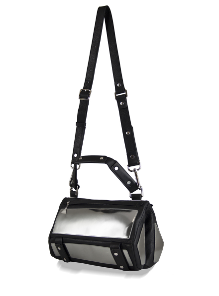 Mirrored Silver & Black Leather Duo Satchel