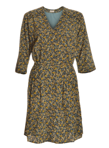 Printed Button Through Tea Dress in Posy Blue