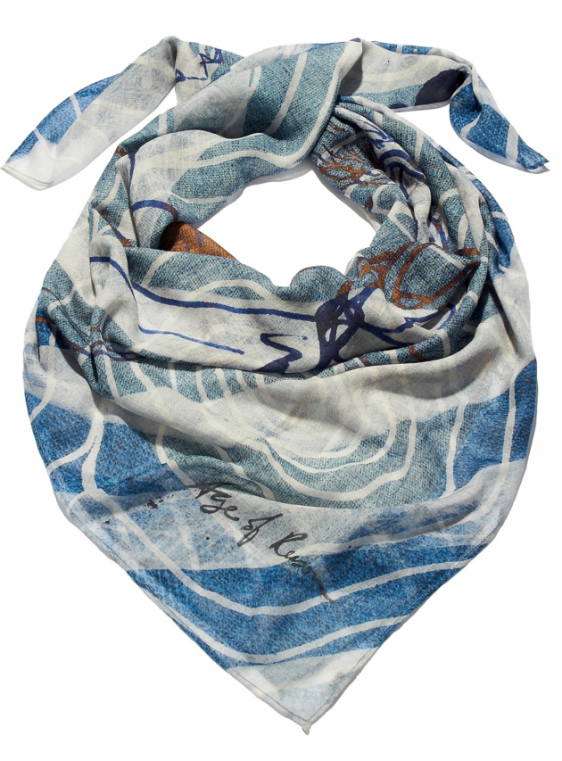 Blue Diana Wool Oversized Scarf
