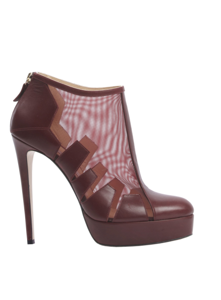 Burgundy Leather Belen Cut Out Ankle Boots
