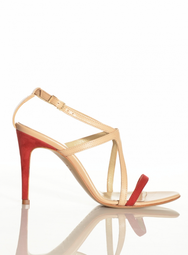 Nude Leather & Red Suede Strappy Sandal