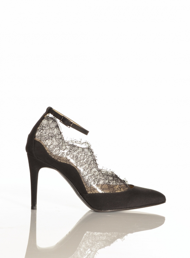 Black Silk Crepe & French Lace Pumps