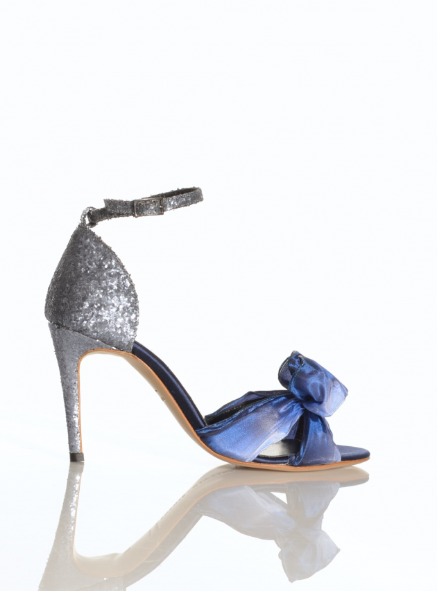 Blue Ombre & Pewter Glitter Sandals