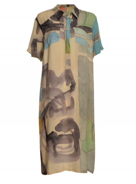 Traveller Silk Midi Shirt Dress