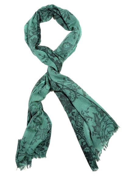 Emerald Chantilly Cashmere/Silk Scarf