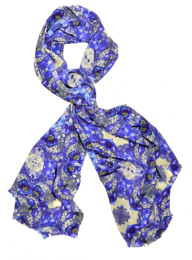Boleyn Blue Silk Scarf
