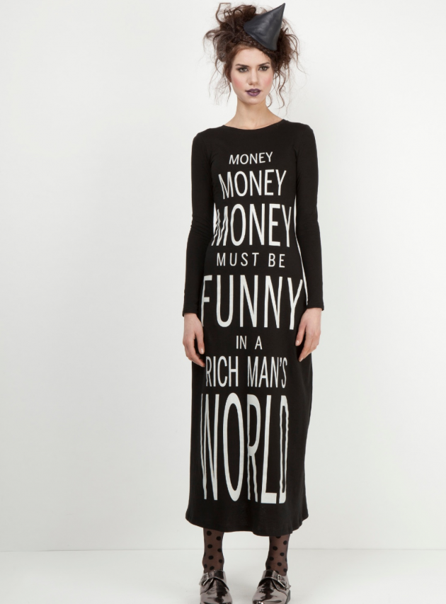 Money Long Sleeved Black Midi Dress