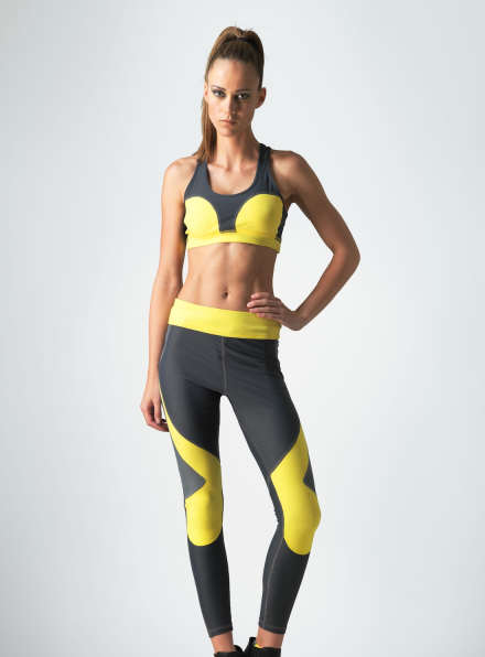 Dynamo Bra in Yellow & Grey
