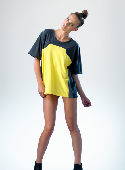 Voltage Tee in Yellow & Grey
