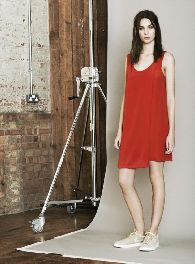 Crista Tomato Red Asymmetric Shift Dress
