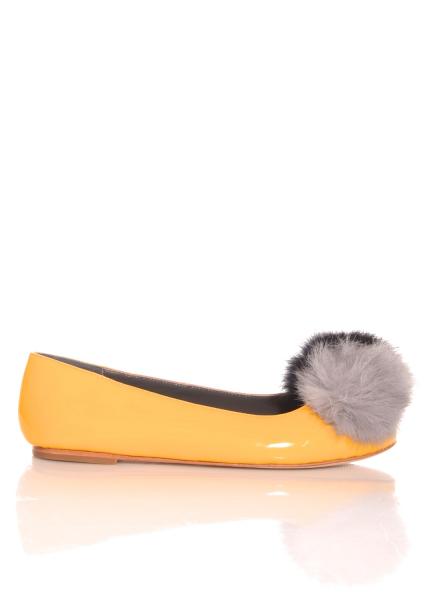 Tatiana Patent Yellow Pom Pom Ballet Flats