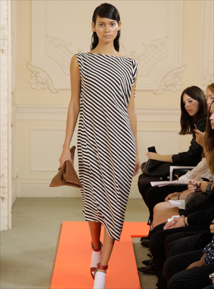 Lilium Striped Asymmetric Dress
