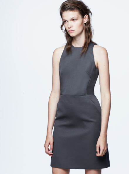 Uptown Dark Grey Shift Dress With A-Line Skirt