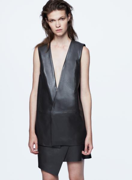 Garrison Dark Grey Longline Sleeveless Leather Jacket
