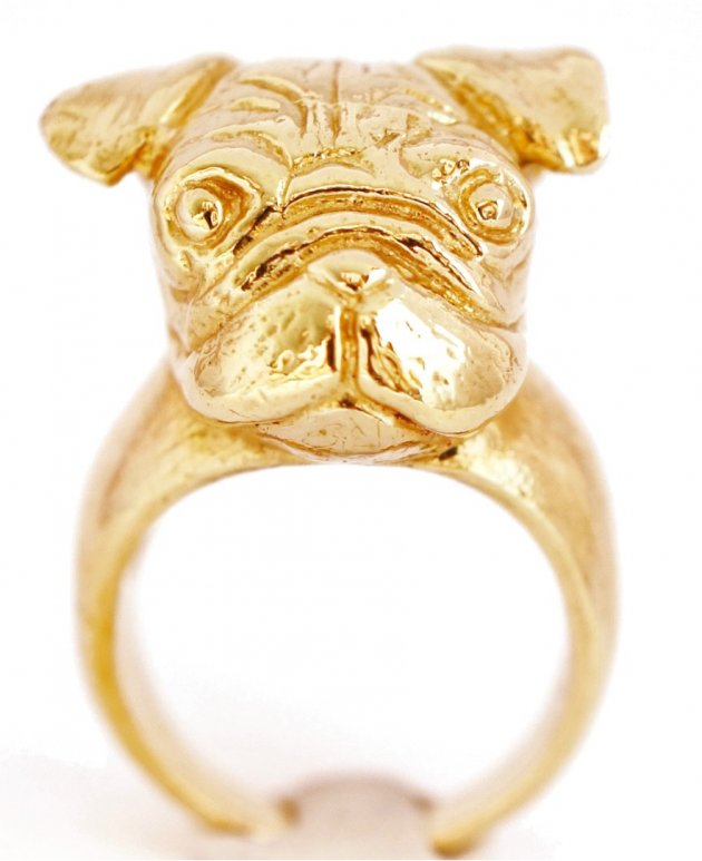 GOLDEN PUG RING