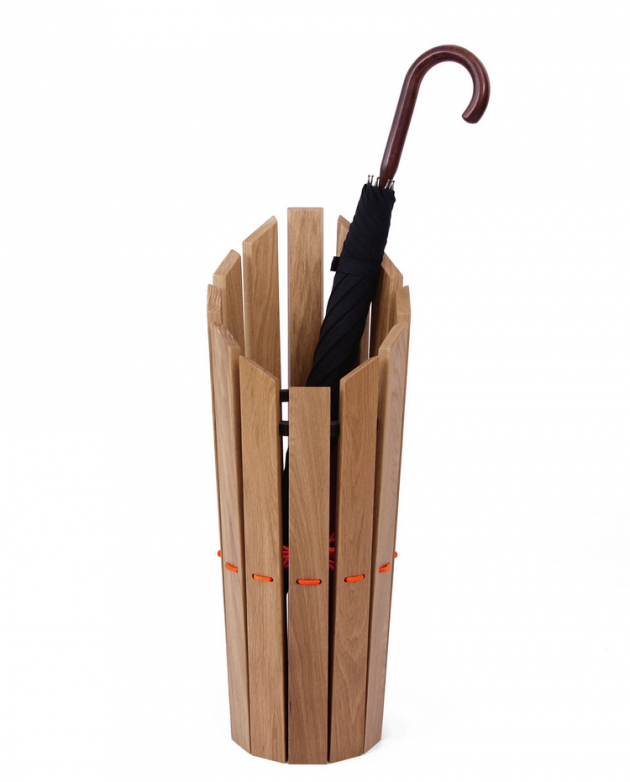 London Undercover Oak Umbrella Stand Orange