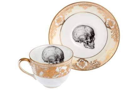Skull Bone China Teacup and Saucer