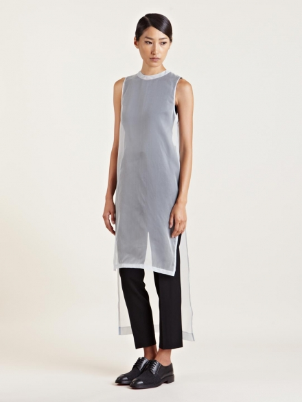 GIVENCHY WOMEN'S BLUE LONG SHEER DRESS