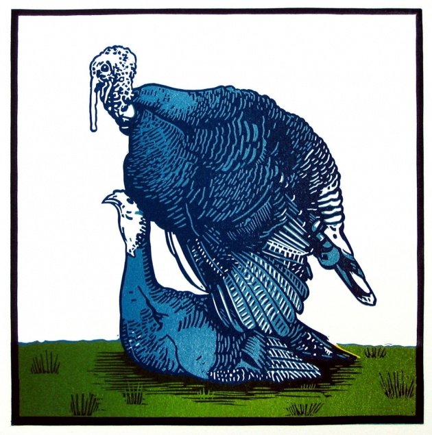 Blue Turkeys linocut