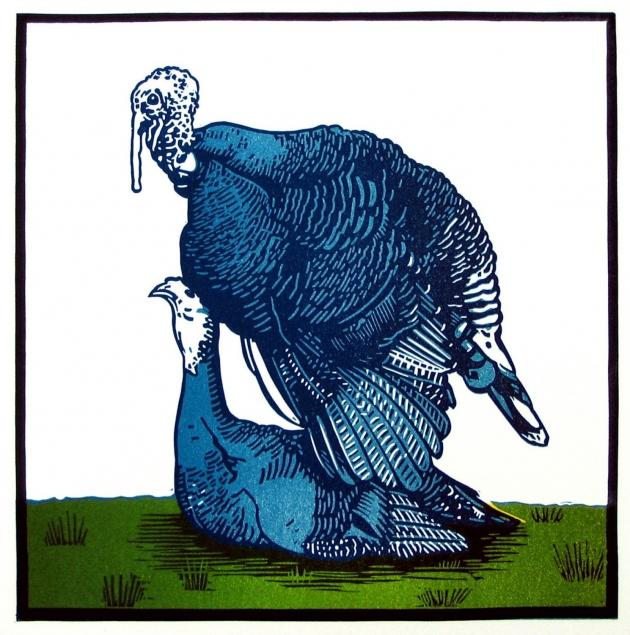 Blue Turkeys linocut
