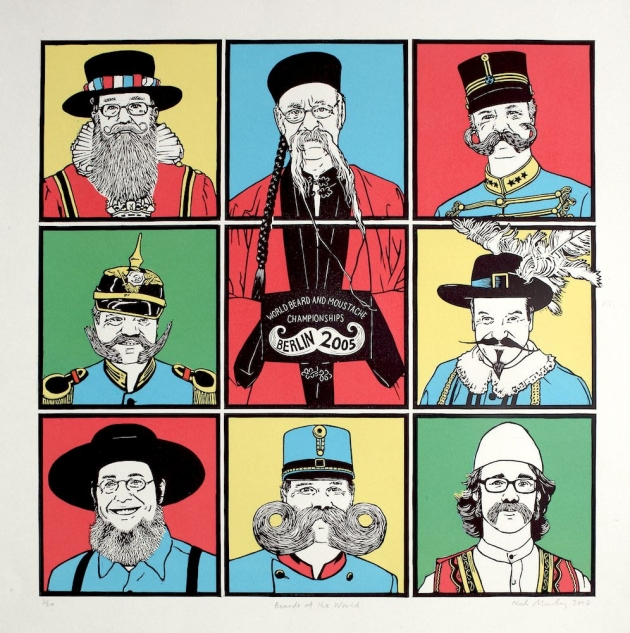 Beards of the World – Linocut and screenprint