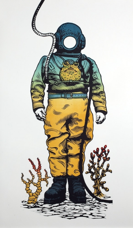 Deep Sea Diver linocut original relief print