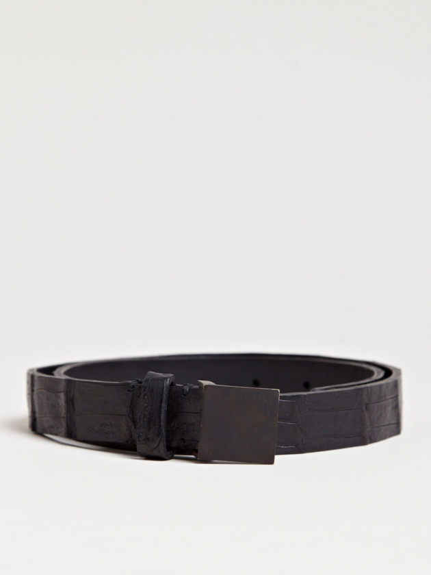 PLATE BUCKLE CROCODILE LEATHER BELT
