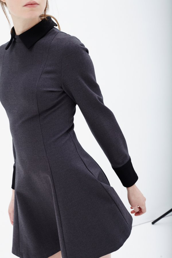 Structured Long Sleeve Collar Cuff Dress