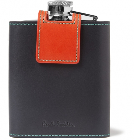 PAUL SMITH SHOES & ACCESSORIES LEATHER-CASED PEWTER HIP FLASK