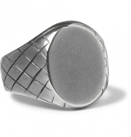 BOTTEGA VENETA  ENGRAVED STERLING SILVER SIGNET RING