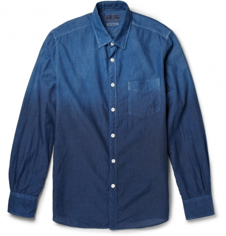 NEW MOON GRADATED-INDIGO COTTON SHIRT