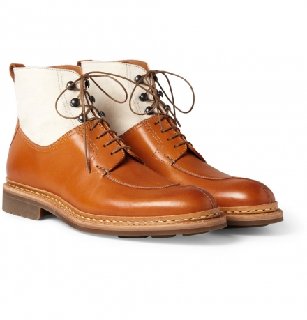 HESCHUNG  GINKO LEATHER AND CANVAS LACE-UP BOOTS