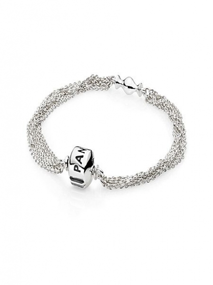 Pandora Sterling Silver 1 Clip Multi Chain Bracelet