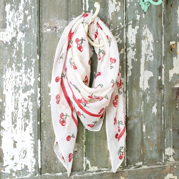 Cherry Print Scarf in Cream