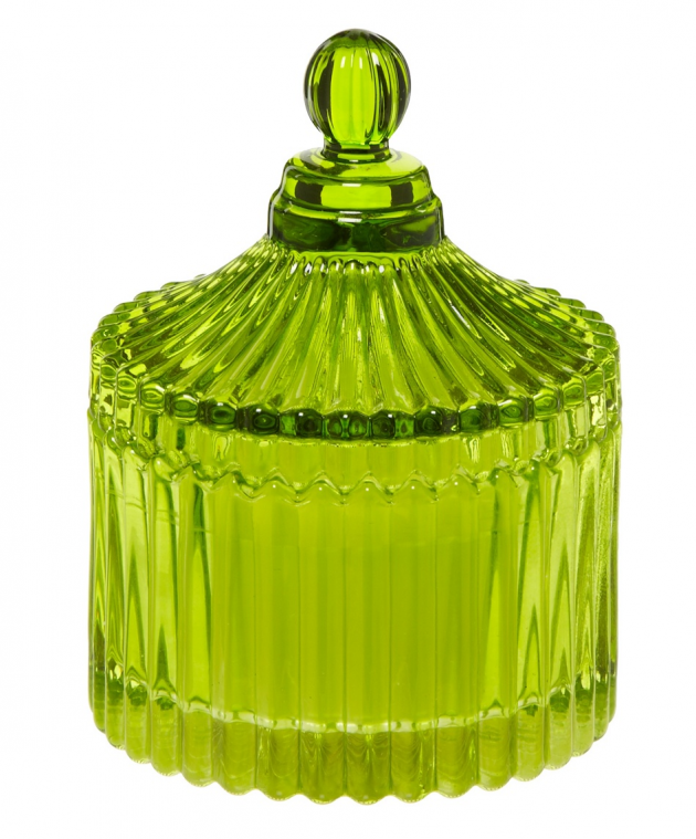 Designer green glass scented candle