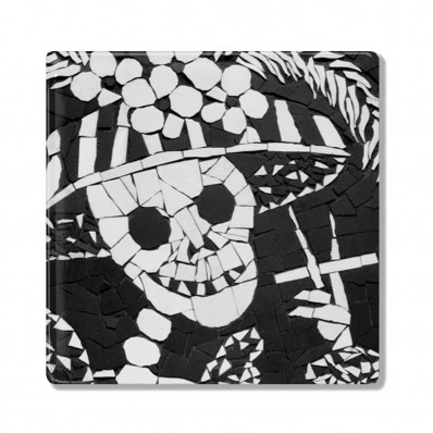 Auntie Nana Ceramic Coaster – Skeleton Smoking
