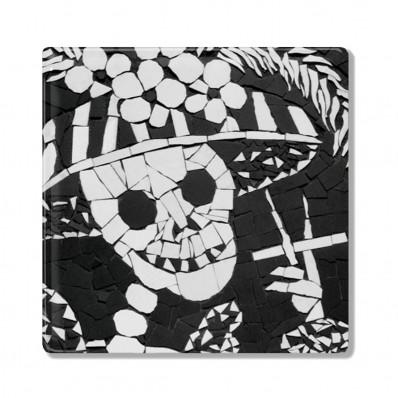Auntie Nana Ceramic Coaster – Skeleton Smoking
