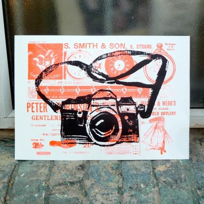 Orange Camera screen print