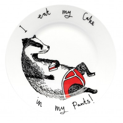 'I eat my cake in my pants' plate